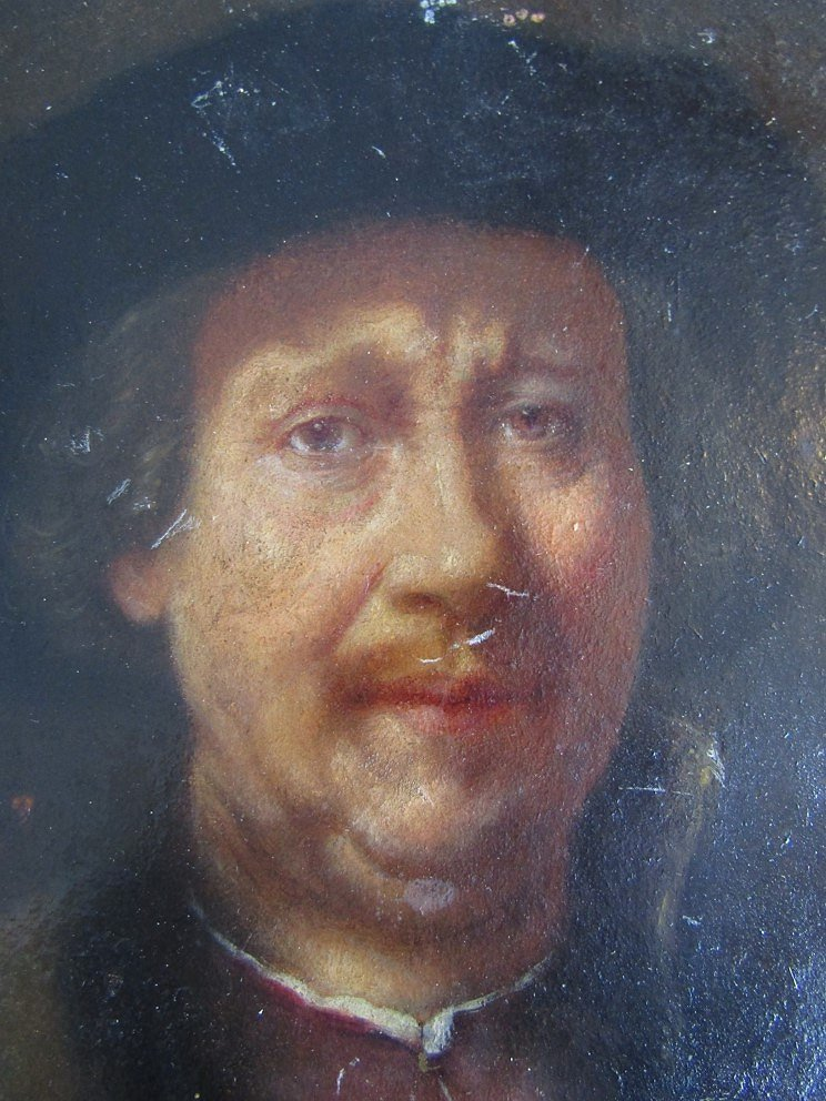 After Rembrandt : A 19thC oil on card portrait of Rembrandt wearing a fur hat and fur edged jacket. - Image 3 of 5