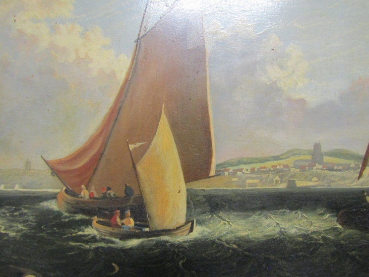 A 19th Century oil on board of sailboats beside the coastline, unsigned work. - Image 3 of 6