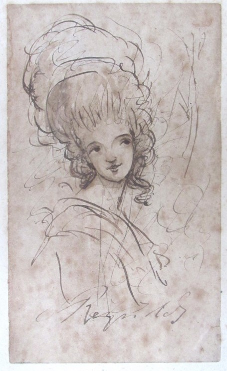 JOSHUA REYNOLDS (1723-1792) A head and shoulders sketch of a young woman in pen, - Image 3 of 8