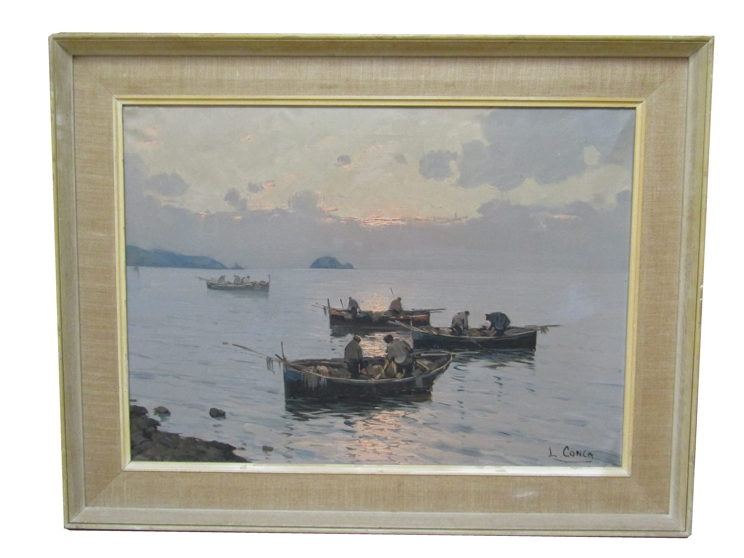 LUIGI CONCA (XX): A framed Continental oil on canvas depicting fishermen on small boats. - Image 3 of 5