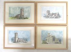 33 framed and glazed prints after JK Colling and others of Norfolk & Suffolk Churches and Church