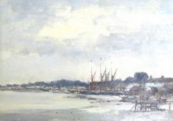 "IAN HOUSTON (b.1934): A framed oil on board, ""Sailing Barges at Maldon, Essex"". Signed bottom left."