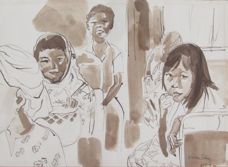 """VIVIEN JOHN (1915-1994): A framed and glazed sepia watercolour titled """"Passengers on a Bus"""". - Image 2 of 4"""