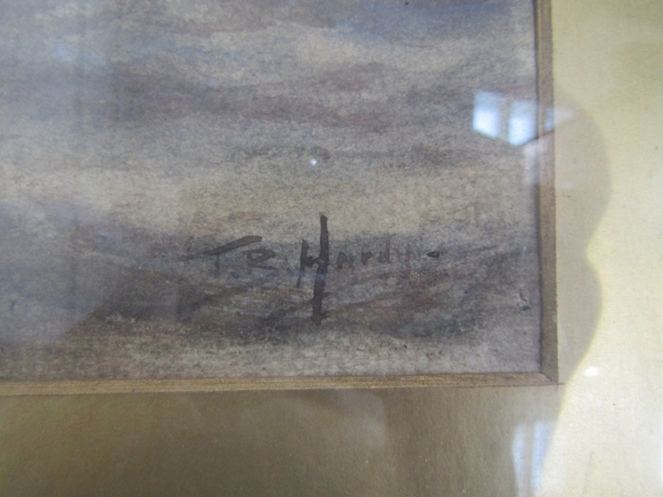 After Thomas Bush Hardy (1842-1897): A framed and glazed watercolour of sailing vessels on rough - Image 2 of 5