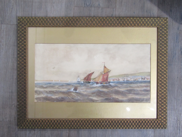 After Thomas Bush Hardy (1842-1897): A framed and glazed watercolour of sailing vessels on rough - Image 3 of 5