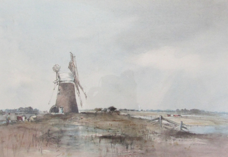 """ARTHUR EDWARD DAVIES (1893-1988): A framed and glazed watercolour, """"Reedham Mill & Marshes"""", signed."""
