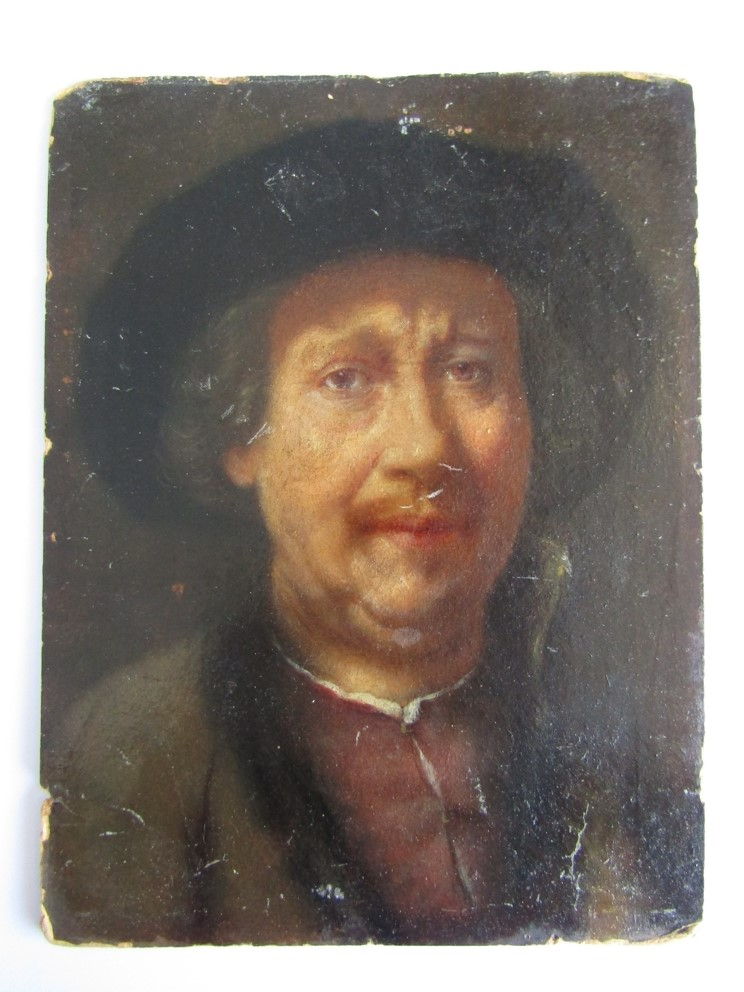 After Rembrandt : A 19thC oil on card portrait of Rembrandt wearing a fur hat and fur edged jacket. - Image 2 of 5