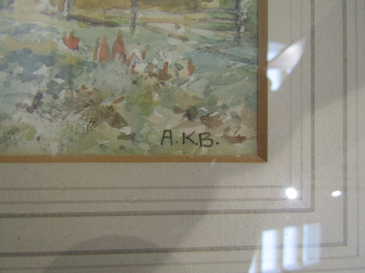 """A.K. BROWN (XIX/XX): A gilt framed and glazed watercolour. """"The Valley of the Tummel"""". - Image 2 of 4"""