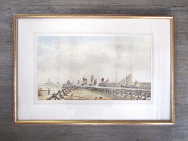 ENGLISH SCHOOL, LATE 19TH/EARLY 20TH CENTURY: Fishing fleet leaving harbour (possibly Lowestoft). - Image 2 of 4
