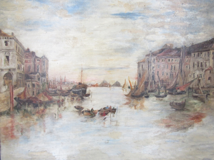 An early 20th Century oil on canvas possibly Venetian scene of moored vessels. Unsigned work.