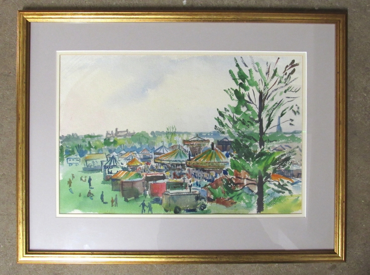 ARTHUR GOODWIN (1922-1998): A framed and glazed watercolour depicting fairground. - Image 3 of 5