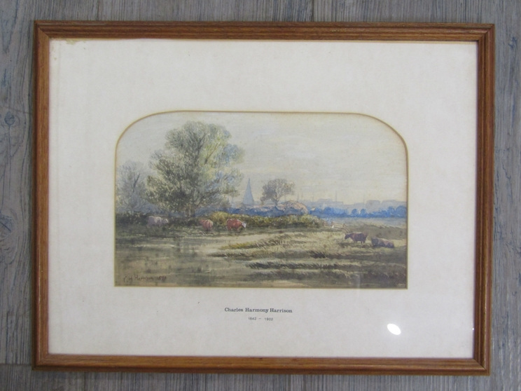CHARLES HARMONY HARRISON (1842-1902): A framed and glazed watercolour, Norfolk marshes with cattle. - Image 3 of 4