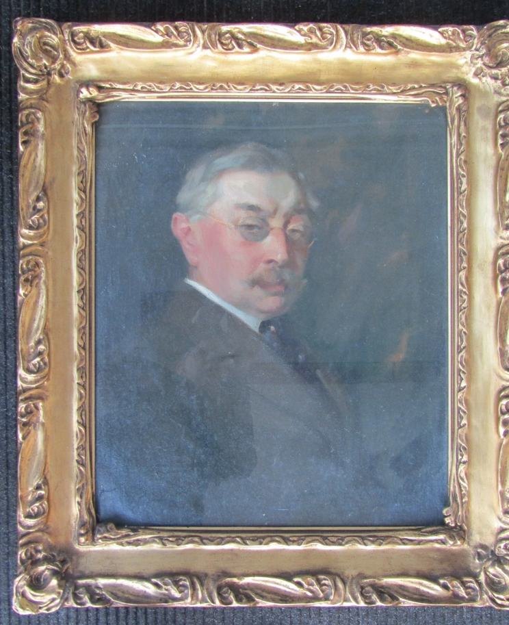 A pair of gilt framed and glazed portraits, one in oil on canvas, - Image 2 of 8