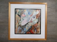 "SPATE HUNTERMANN (ROBERT HUNT 1934-2014): A framed mixed media on board titled ""Lady In White hat""."