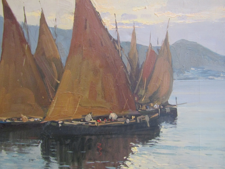 LUIGI CONCA (XX): A gilt framed Continental oil on canvas depicting coastal scene with boats and - Image 3 of 3