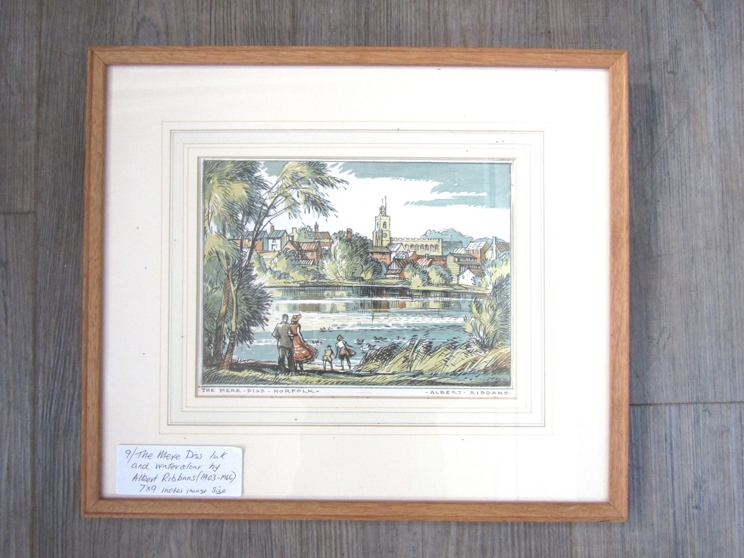 ALBERT RIBBANS (1903-c1966) : A framed and glazed pen, ink and watercolour, Diss Mere. - Image 3 of 4