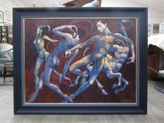 JAMES GORMAN (SCOTTISH 1931-2005) (ARR) A framed acrylic and oil on board titled 'Frantic Dance'.