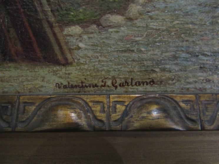 VALENTINE THOMAS GARLAND (1868-1914): A gilt framed oil on board, - Image 3 of 5