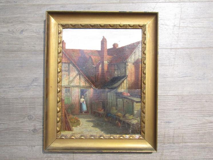 VALENTINE THOMAS GARLAND (1868-1914): A gilt framed oil on board,