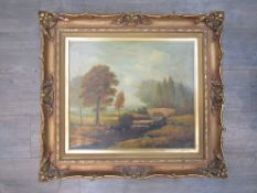 HENRY W CLAPTON (XIX/XX): A gilt framed oil on canvas, landscape with figures fly fishing,
