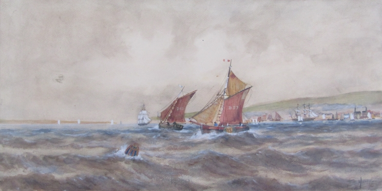 After Thomas Bush Hardy (1842-1897): A framed and glazed watercolour of sailing vessels on rough
