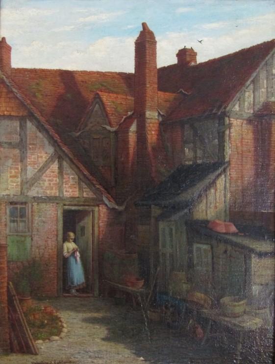 VALENTINE THOMAS GARLAND (1868-1914): A gilt framed oil on board, - Image 2 of 5