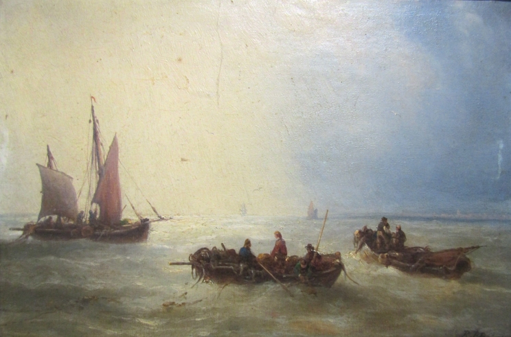 A 19th Century oil on canvas, rowing and sailboats in calm sea, monogrammed bottom right,