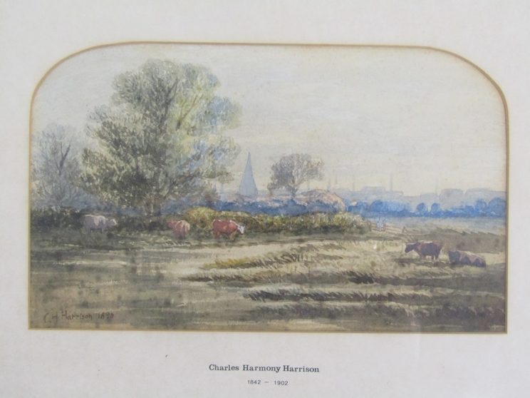 CHARLES HARMONY HARRISON (1842-1902): A framed and glazed watercolour, Norfolk marshes with cattle.