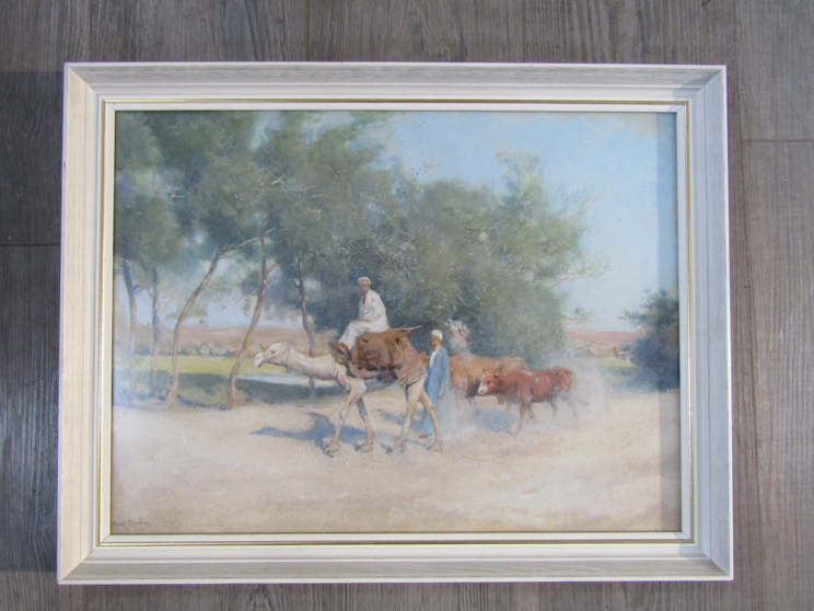 FRANK DEAN (1865-1947): A framed and glazed watercolour, figures with camel and cattle. - Image 2 of 4