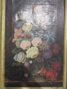 An oil on board still life bunch of flowers in a vase, gilt framed,