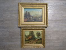 JAMES ISIAH LEWIS (1861-1934): Two ornate gilt framed oils, one on canvas of a watermill scene.