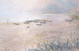 "KENNETH SMITH (XX): ""The Beach, Pakefield"" - moored fishing boats on a sandy beach."