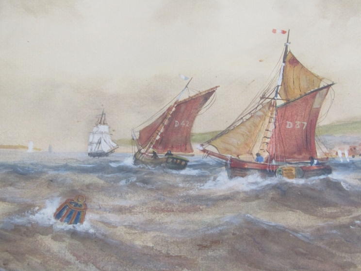 After Thomas Bush Hardy (1842-1897): A framed and glazed watercolour of sailing vessels on rough - Image 4 of 5