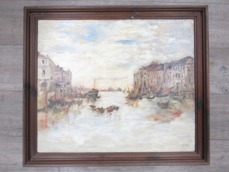 An early 20th Century oil on canvas possibly Venetian scene of moored vessels. Unsigned work. - Image 2 of 3