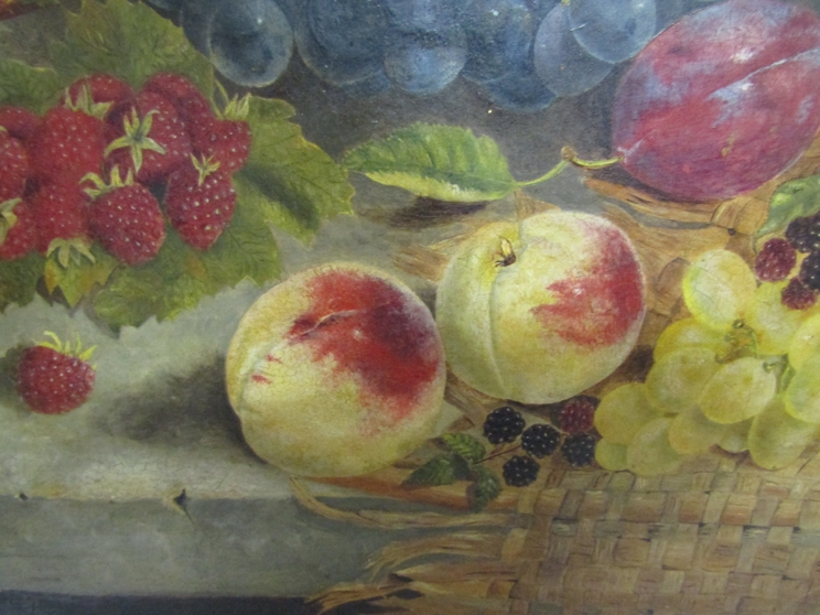 ELOISE HARRIET STANNARD (1829-1915): An oil on canvas of still life fruit, - Image 4 of 9