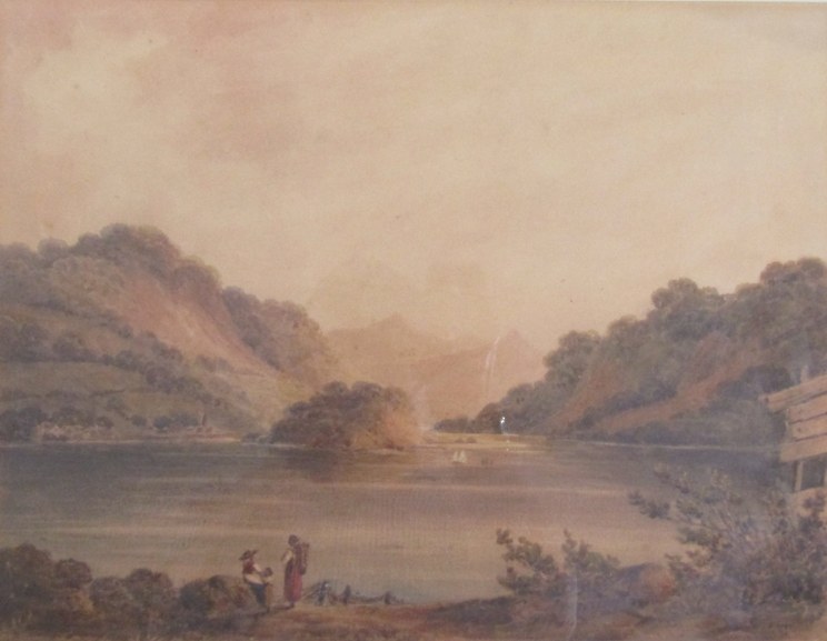 GEORGE FENNELL ROBSON (1788-1833): A framed and glazed watercolour depicting mountainous lake scene.