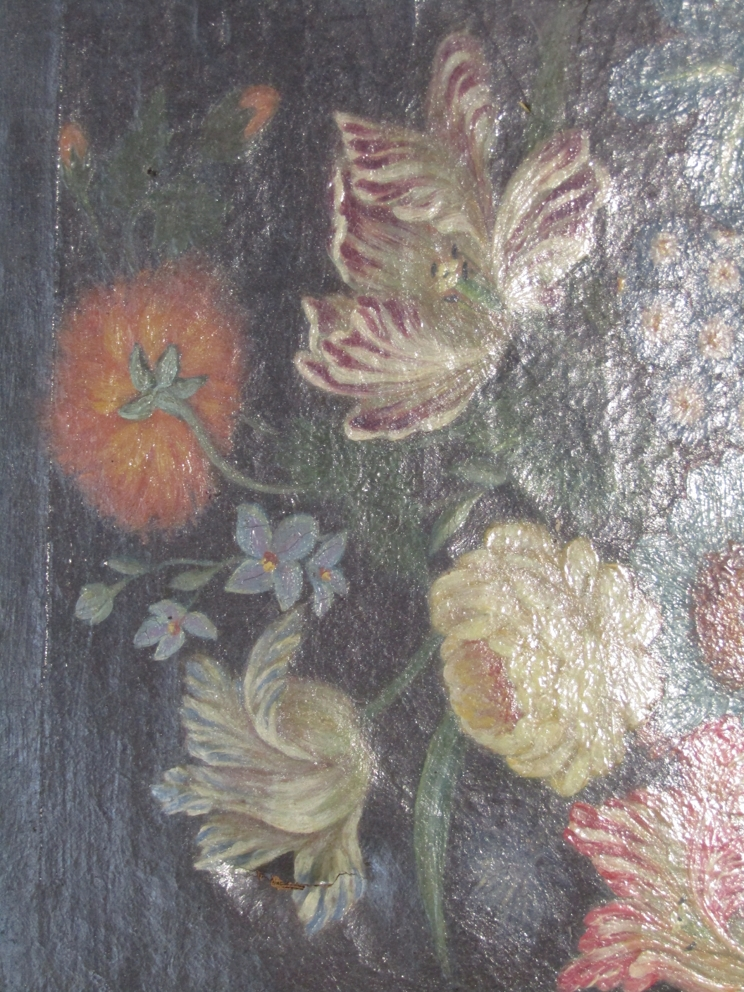 An oil on board still life bunch of flowers in a vase, gilt framed, - Image 2 of 2