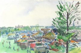 ARTHUR GOODWIN (1922-1998): A framed and glazed watercolour depicting fairground.