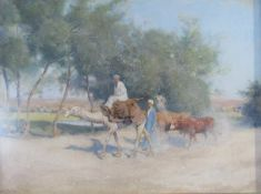 FRANK DEAN (1865-1947): A framed and glazed watercolour, figures with camel and cattle.