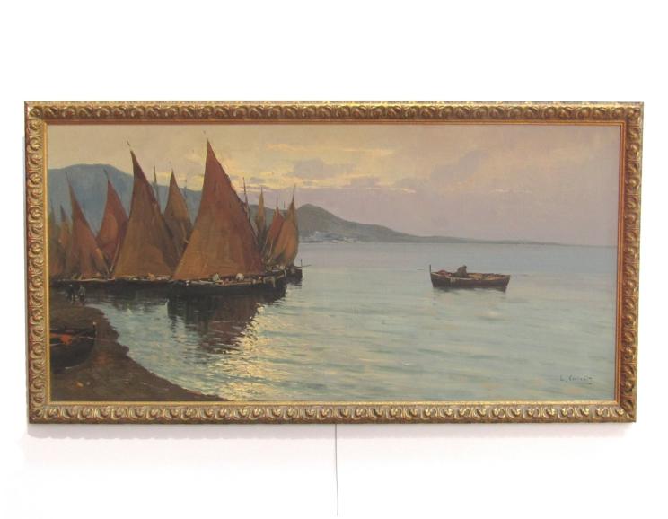 LUIGI CONCA (XX): A gilt framed Continental oil on canvas depicting coastal scene with boats and