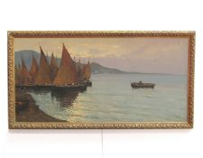 LUIGI CONCA (XX): A gilt framed Continental oil on canvas depicting coastal scene with boats and