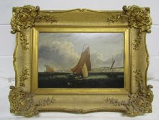A 19th Century oil on board of sailboats beside the coastline, unsigned work.