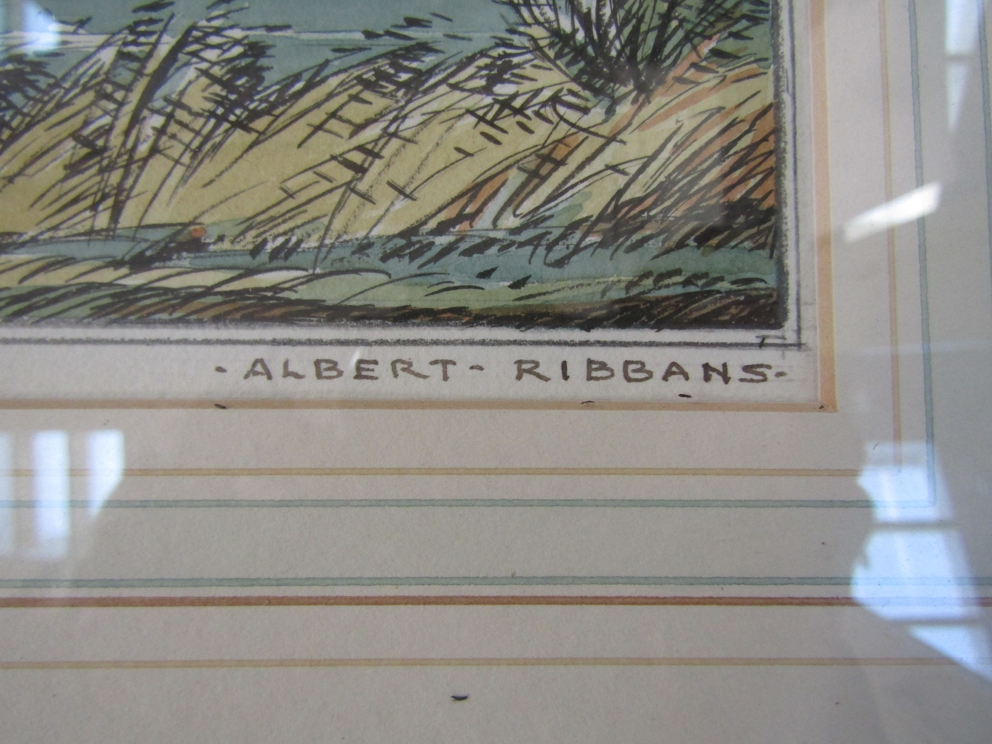 ALBERT RIBBANS (1903-c1966) : A framed and glazed pen, ink and watercolour, Diss Mere. - Image 2 of 4
