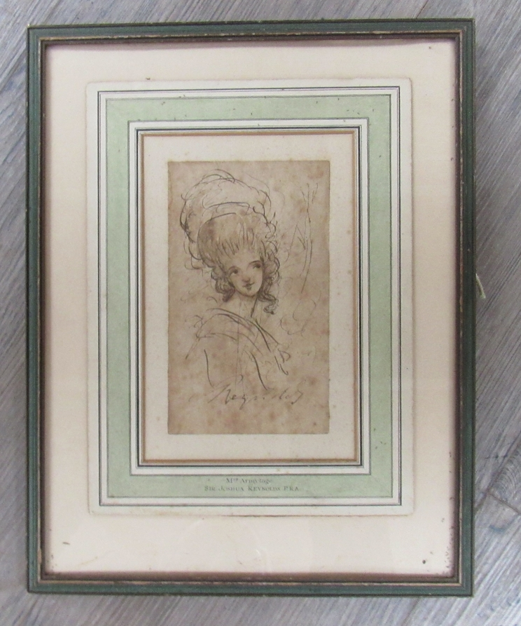 JOSHUA REYNOLDS (1723-1792) A head and shoulders sketch of a young woman in pen, - Image 2 of 8