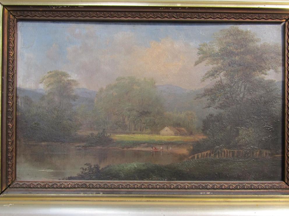 JOHN VARLEY (1778-1842) An ornate gilt framed oil on board, lakeland scene with figures. - Image 2 of 4