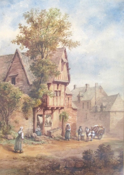 DAVID ROBERTS (1796-1864): A gilt framed and glazed watercolour, figures outside a cottage. - Image 2 of 6