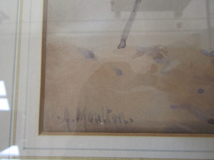 A. MOULTON (XX): A masted ship moored in a misty bay. Watercolour. Faded. - Image 3 of 4