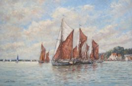 "JOHN SUTTON (b.1935): A framed oil on canvas. ""Thames Barge Race off Pin Mill, Ipswich""."