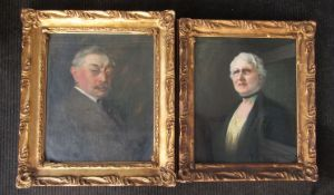 A pair of gilt framed and glazed portraits, one in oil on canvas,