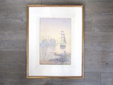 A. MOULTON (XX): A masted ship moored in a misty bay. Watercolour. Faded.